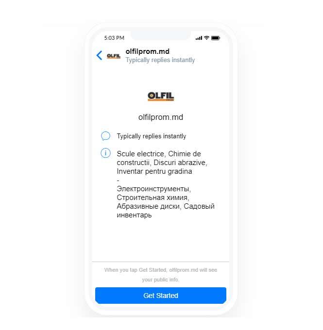 Olfilprom.md chatbot - Portofoliul nostru | Diginet.md